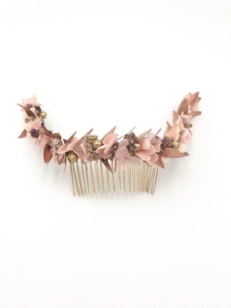 Peigne de mariée Phyra en fleurs stabilisées et séchées - Collection Orichalque