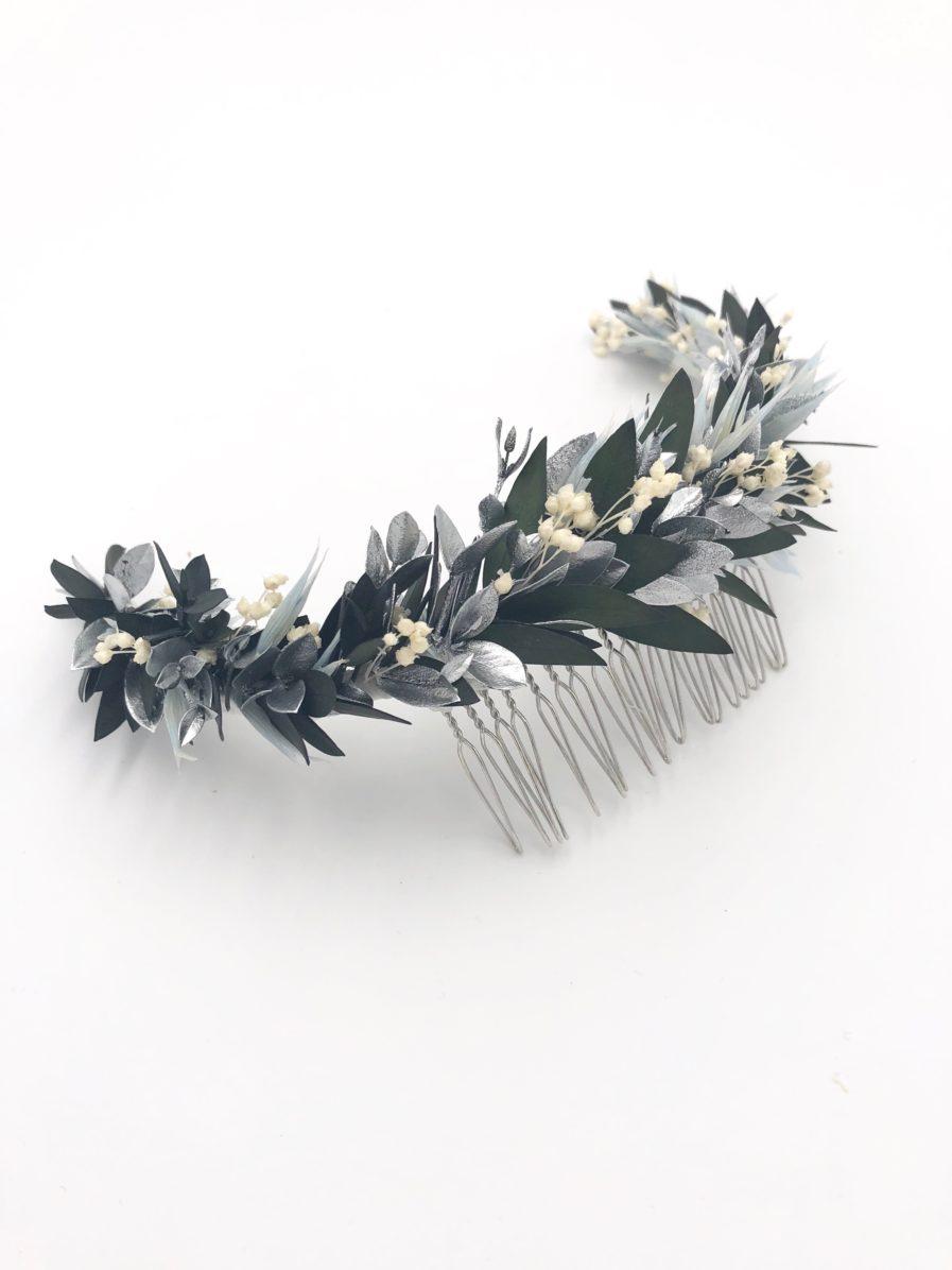 Peigne de mariée Turquin long en fleurs stabilisées - Les Fleurs Dupont - Collection Orichalque