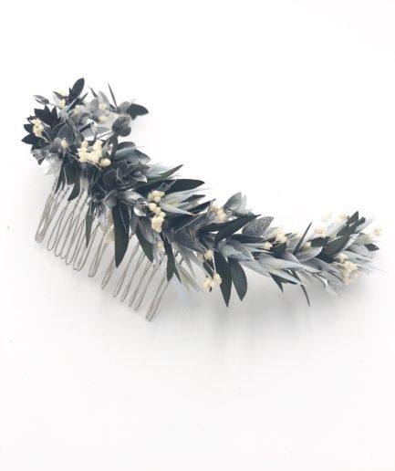 Peigne de mariée Turquin long en fleurs stabilisées et séchées