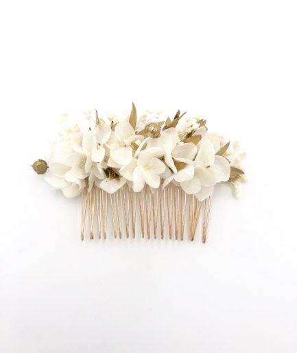 Peigne de mariage Ori en feuilles dorées et fleurs stabilisées couleur or
