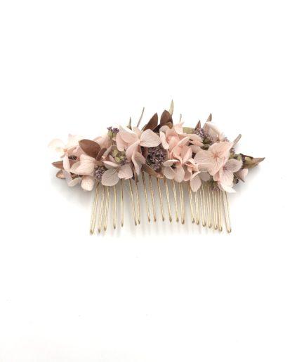 Peigne de mariage Phyra en fleurs stabilisées