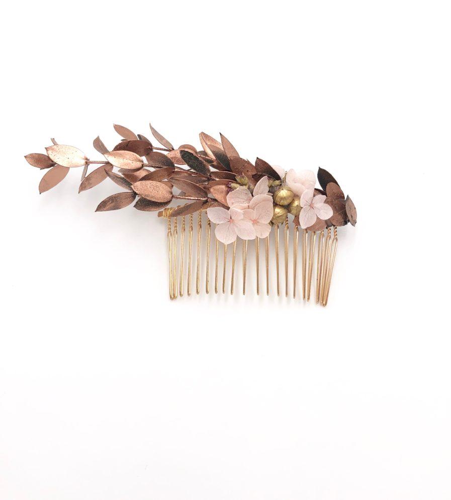 Peigne de mariage Phyra en fleurs stabilisées cuivrées