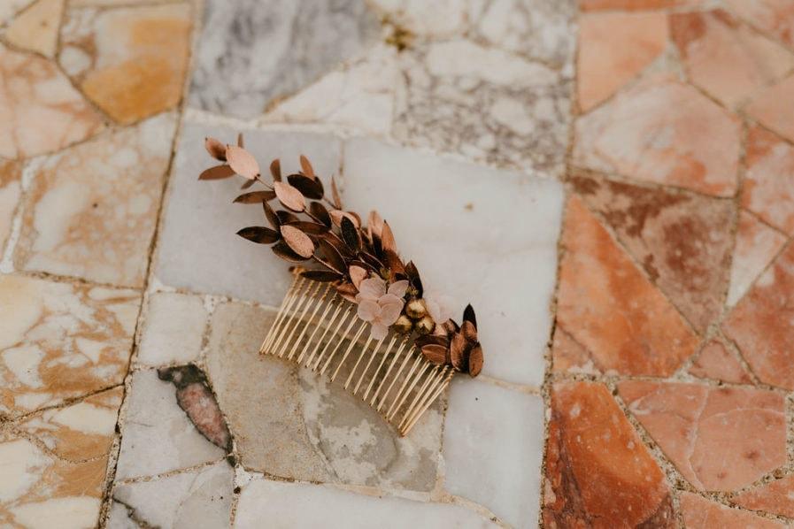 Peigne de mariage Phyra version Antique - Anaïs Nannini - Les Fleurs Dupont - Collection Orichalque