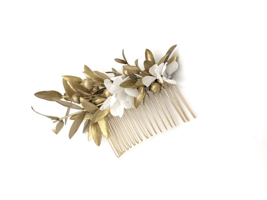 peigne de fleurs stabilisées dorées Ori antique