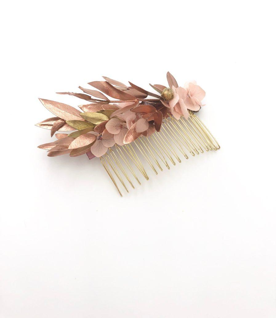 peigne de fleurs stabilisées et séchées Phyra version antique aux tons cuivrés