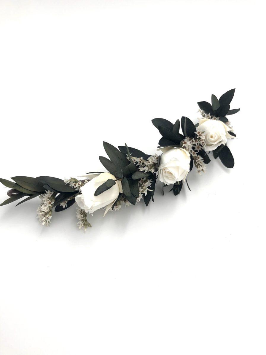 Barrette de fleurs séchées et stabilisées Foglia pour la mariée