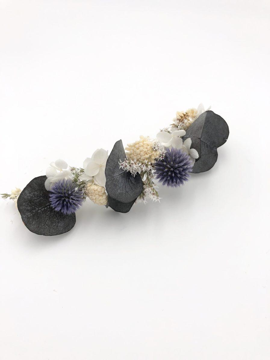 Barrette de mariage Céleste en fleurs stabilisées et séchées - Les Fleurs Dupont