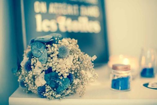 Bouquet de la mariée Céleste - Photographe Nancy Ricard - Mariage de Sarah - Bouquet en fleurs séchées
