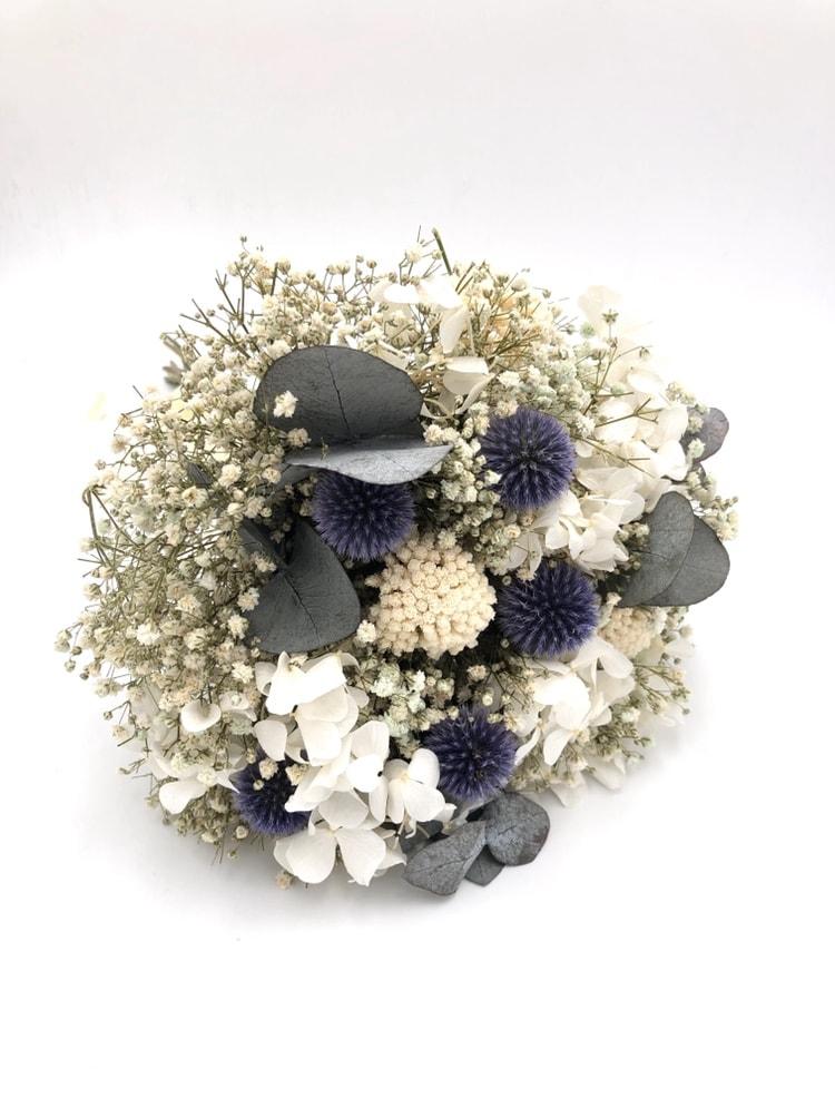 Bouquet de la mariée Céleste en fleurs stabilisées et séchées