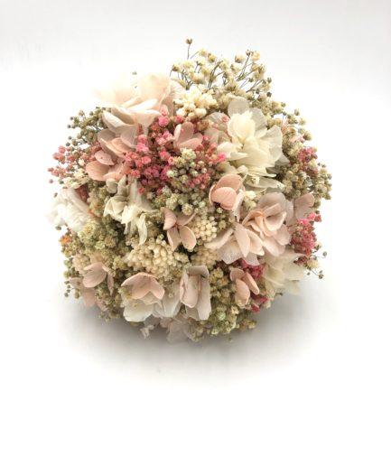 Bouquet de la mariée Candi en fleurs stabilisées roses et pêche