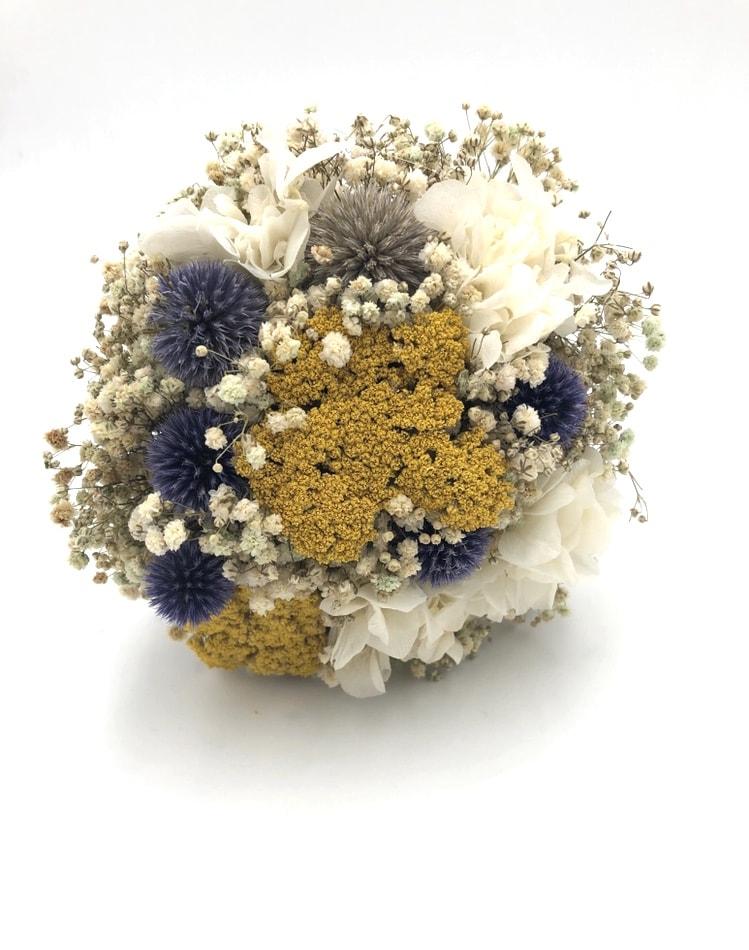 Bouquet de la mariée Violine en fleurs séchées - chardons et achillées