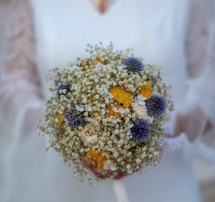 Bouquet de la mariée Violine en fleurs séchées - les Fleurs Dupont
