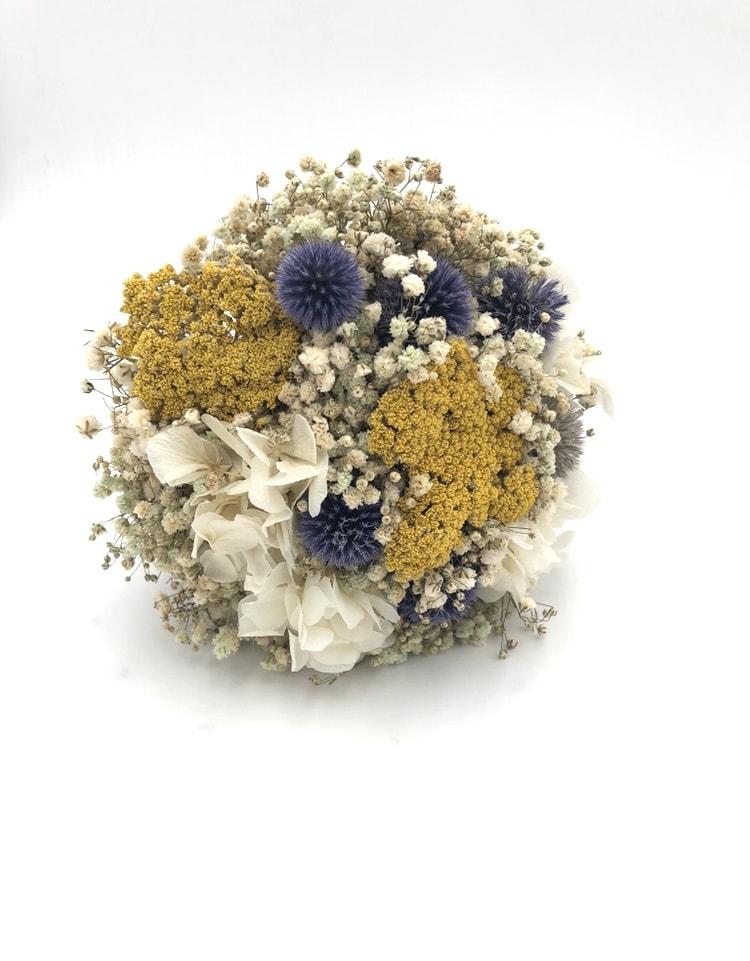 Bouquet de la mariée Violine en fleurs séchées et stabilisées - avec chardons séchés