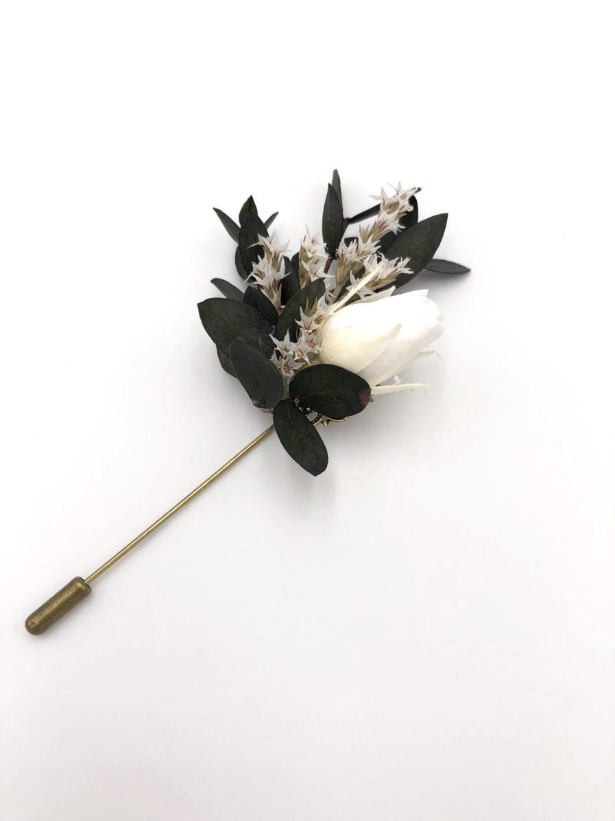Boutonnière en fleurs stabilisées Foglia - les Fleurs Dupont