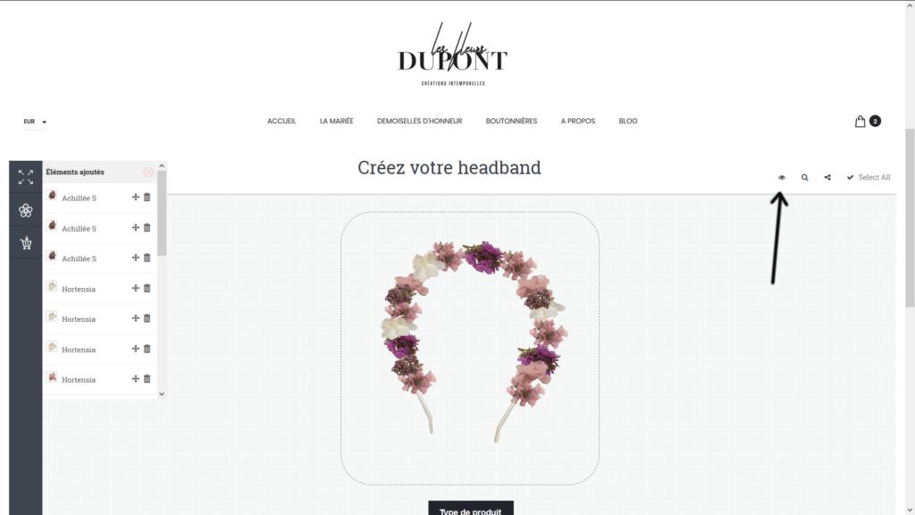 Headband personnalisé en fleurs séchées