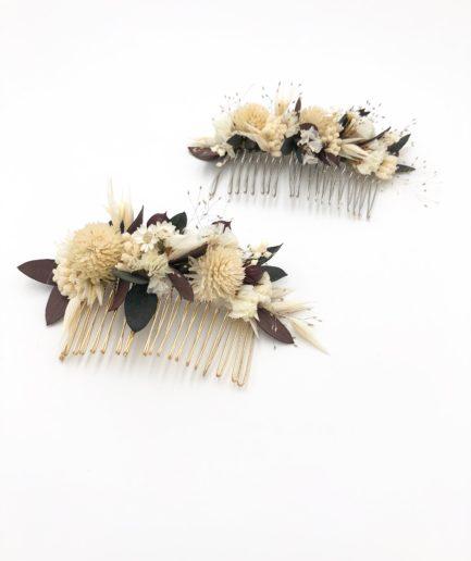 Peigne de mariage Ebora en fleurs séchées et stabilisées