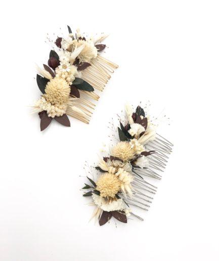 Peigne de mariage Ebora en fleurs séchées - Folk et champêtre