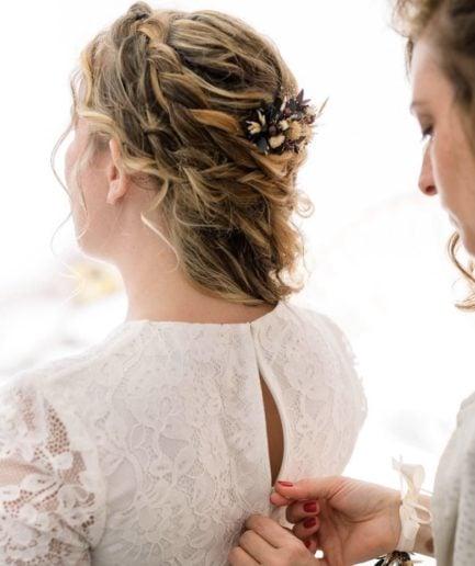 Peigne de mariage Ebora en fleurs séchées