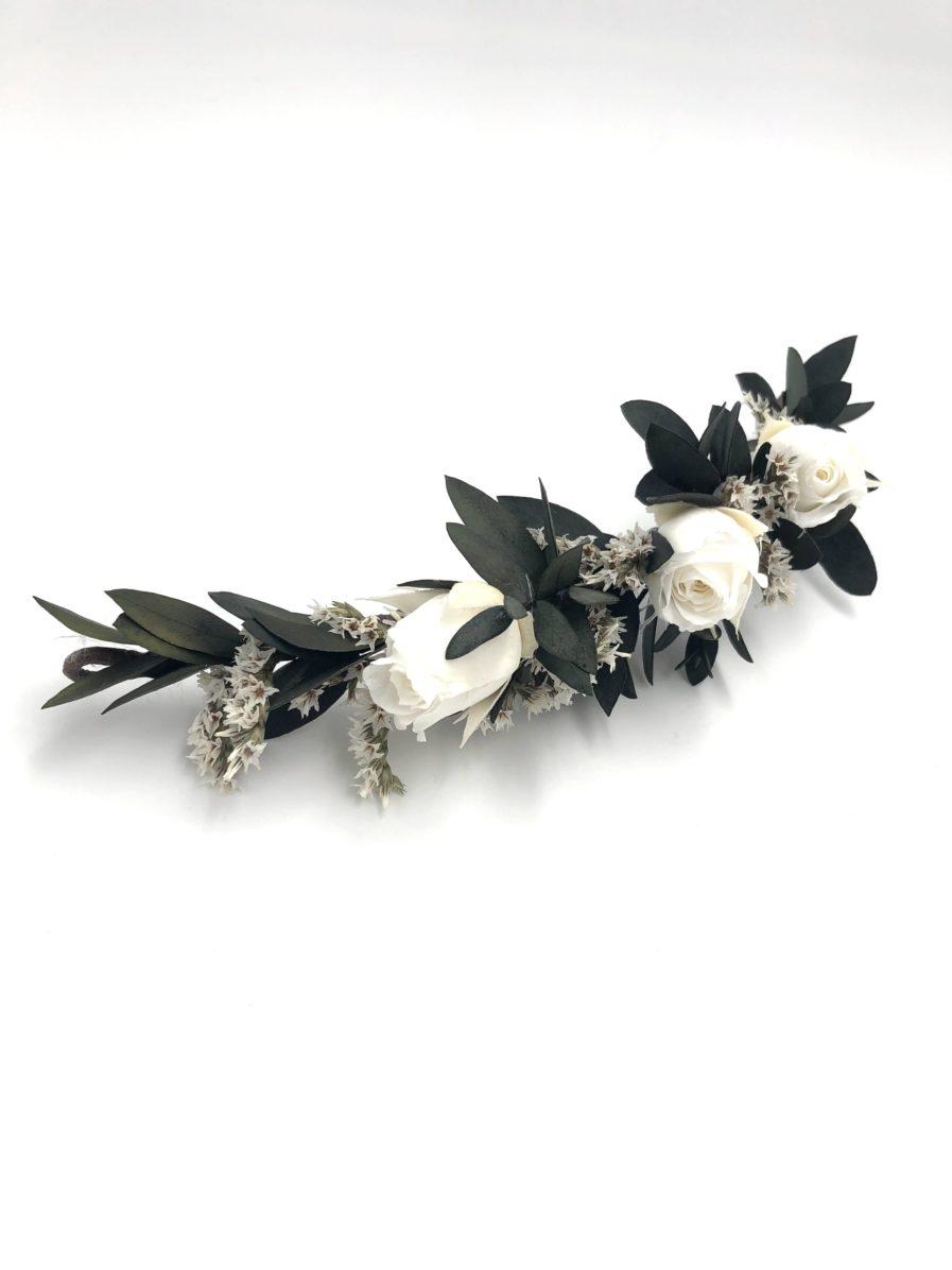 barrette de mariage Foglia en feuilles stabilisées et roses blanches