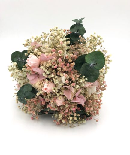 Bouquet de la mariée rond en fleurs stabilisées