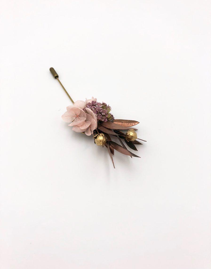 Boutonnière broche Phyra - Les Fleurs Dupont - Tons cuivrés
