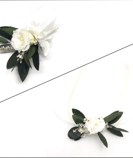 Box cortège Elaia - Bracelets pour demoiselles d'honneur et boutonnières en fleurs