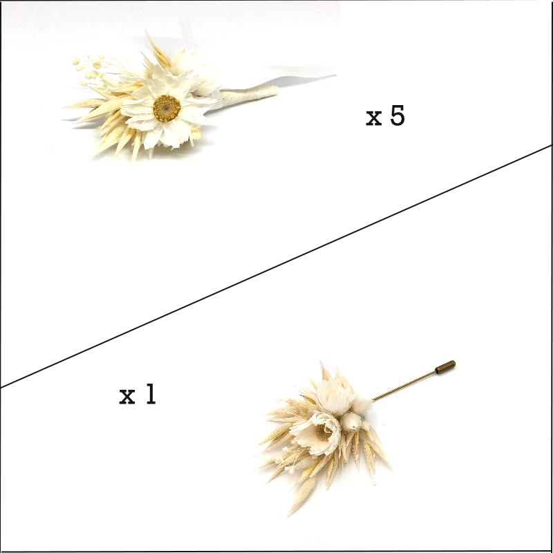 Box marié et témoins Auguste - Boutonnières en fleurs séchées