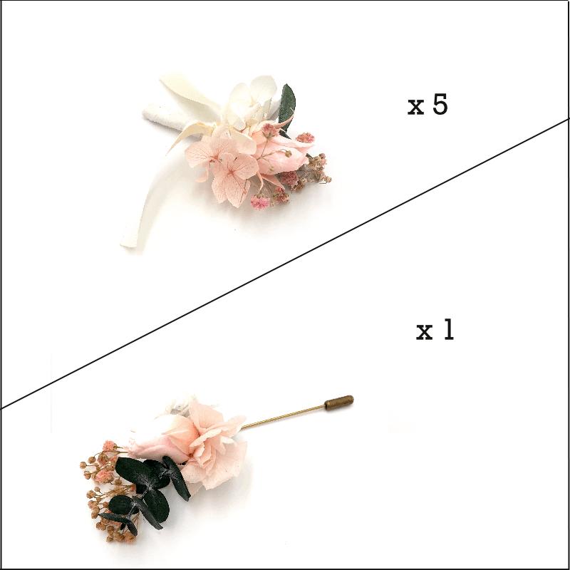 Box marié et témoins Confetti - Boutonnières en fleurs séchées