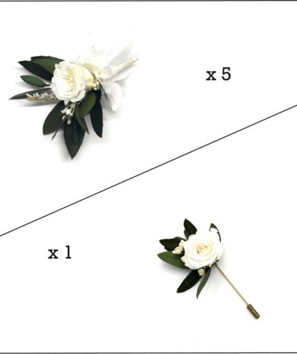 Box marié et témoins Elaia en fleurs stabilisées