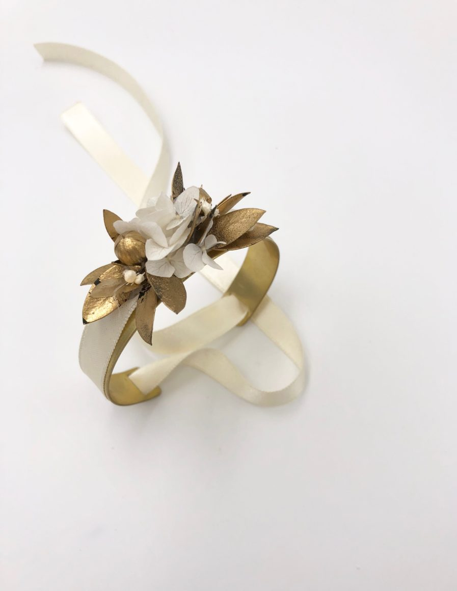 Bracelet Jonc fleuri Ori en fleurs séchées - Les Fleurs Dupont