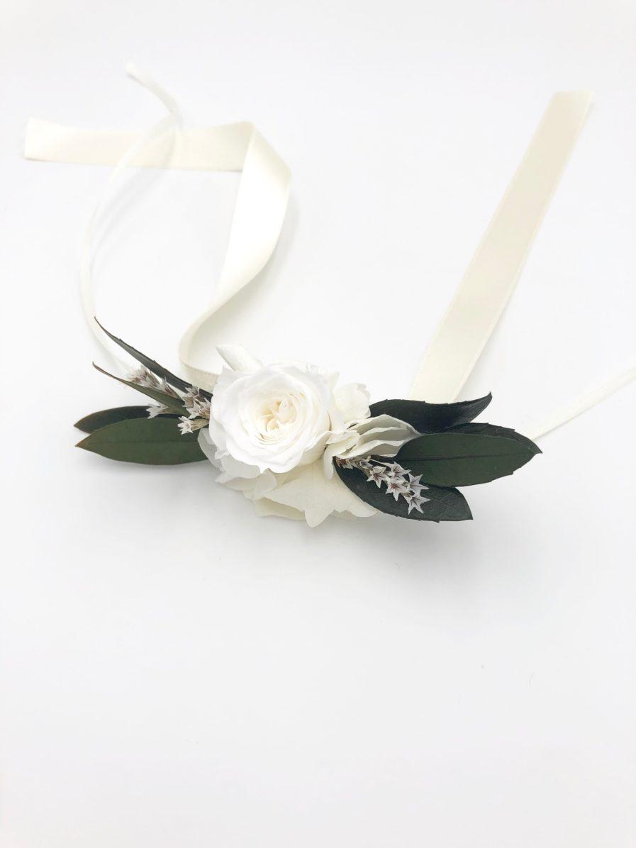 Bracelet de fleurs Elaia en feuilles d'olivier stabilisé