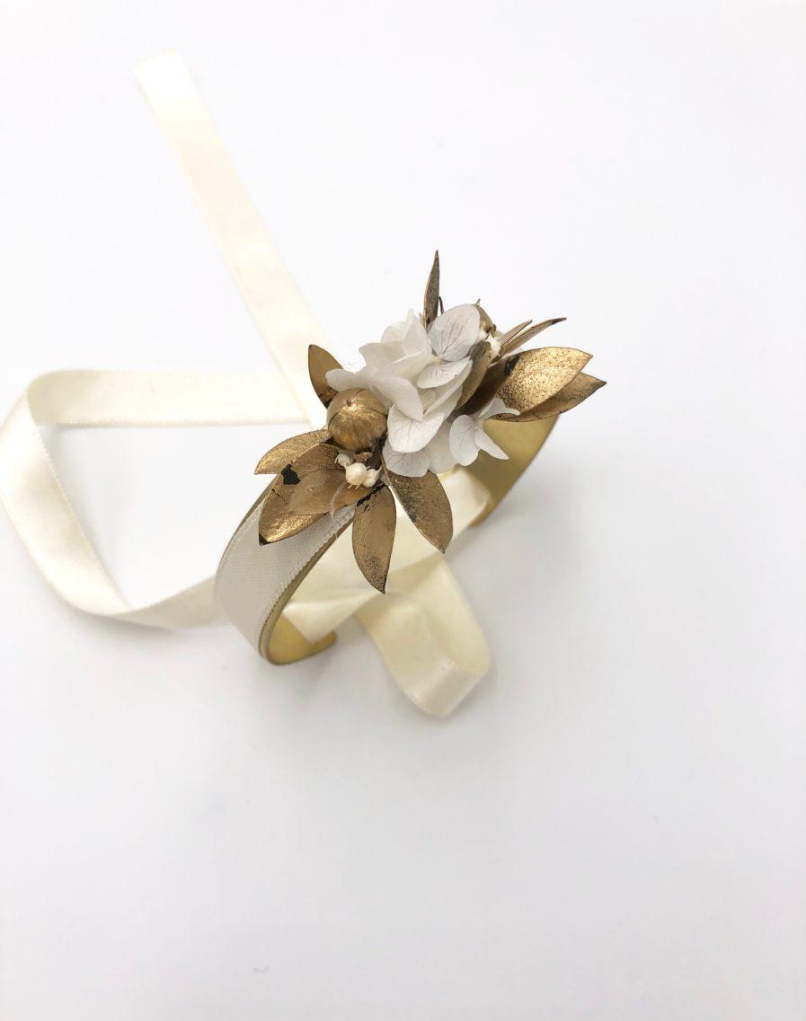 Bracelet jonc fleuri Ori - collection ORichalque