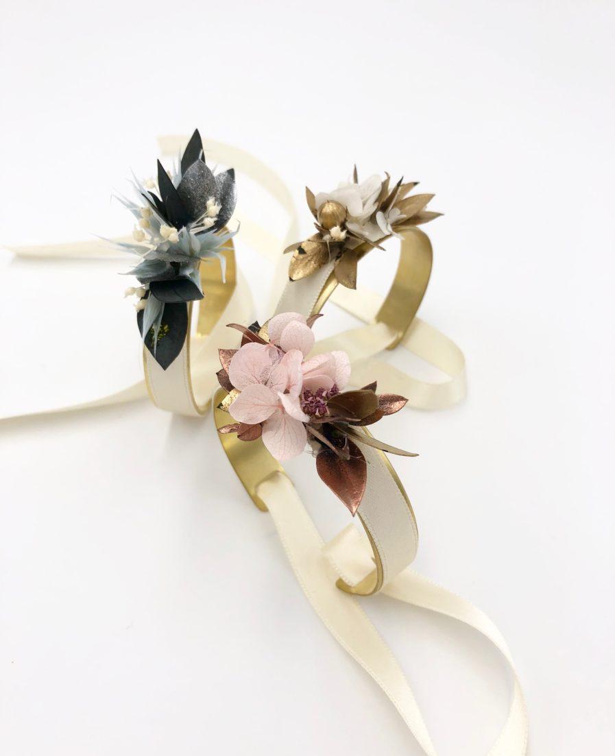 Bracelets joncs fleuris - Les Fleurs Dupont - Collection Orichalque