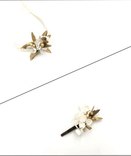 Box Cortège Ori - Fleurs stabilisées dorées et séchées