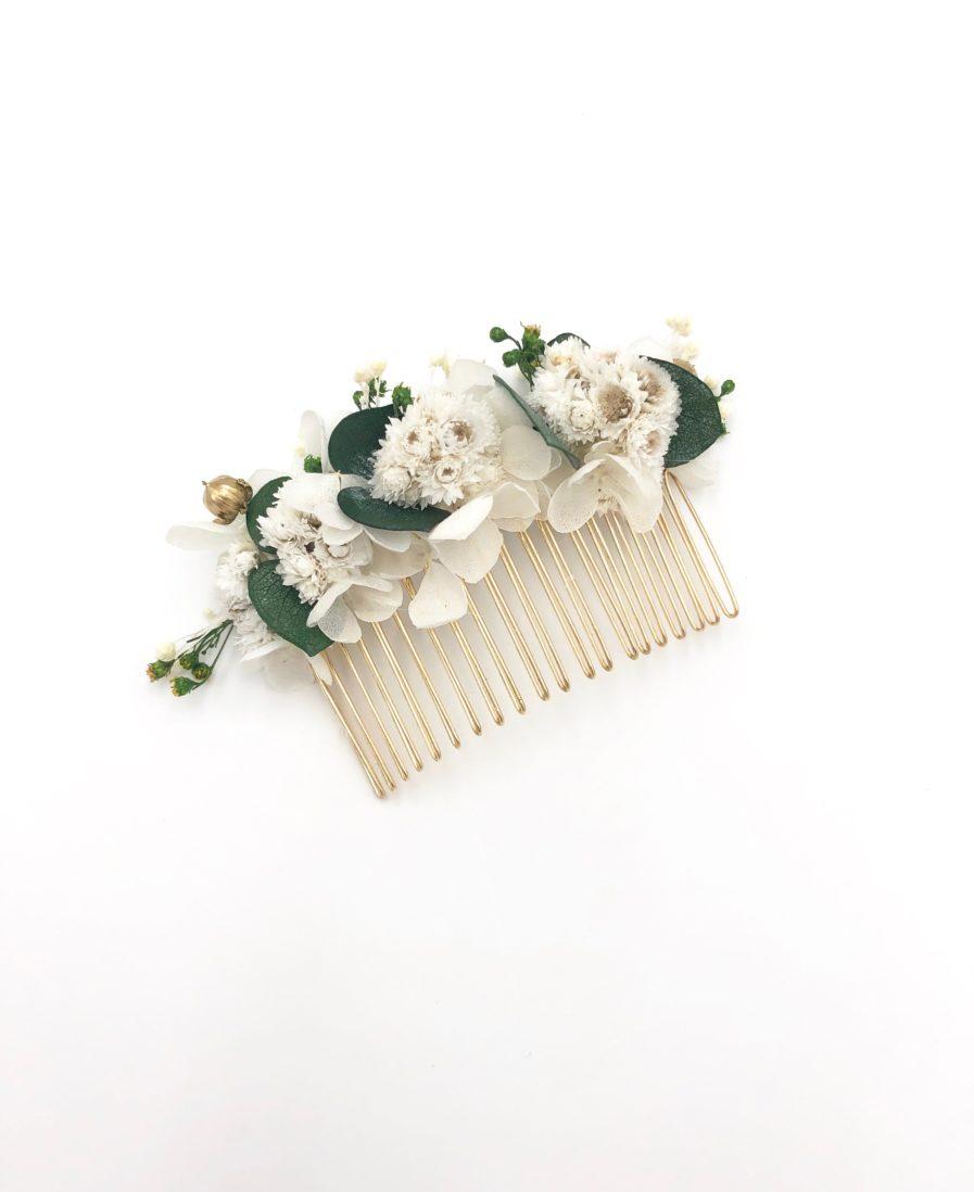 Peigne de fleurs de mariage Minthé - Eucalyptus et immortelles