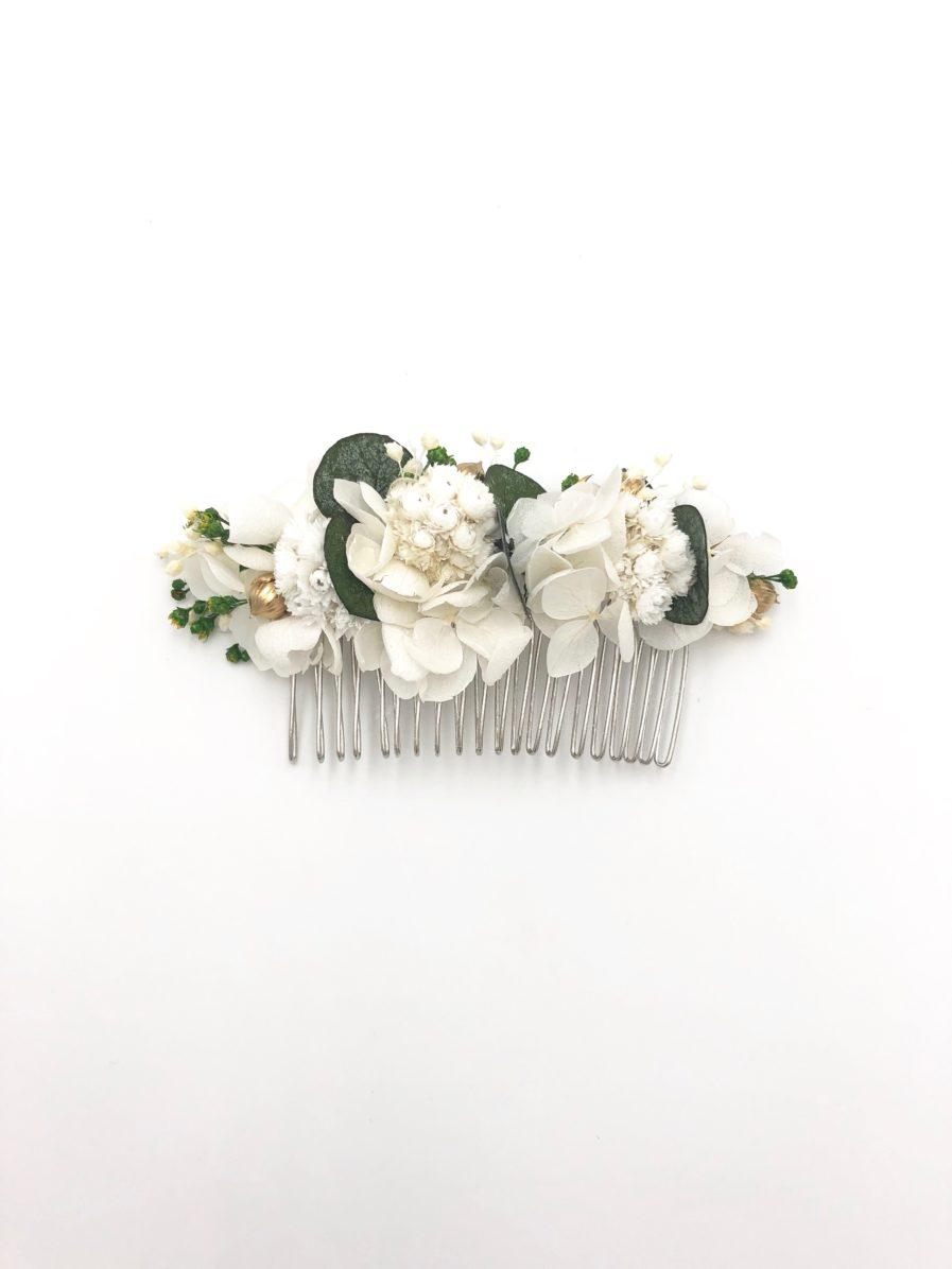 Peigne de fleurs stabilisées Minthé eucalyptus et immortelle