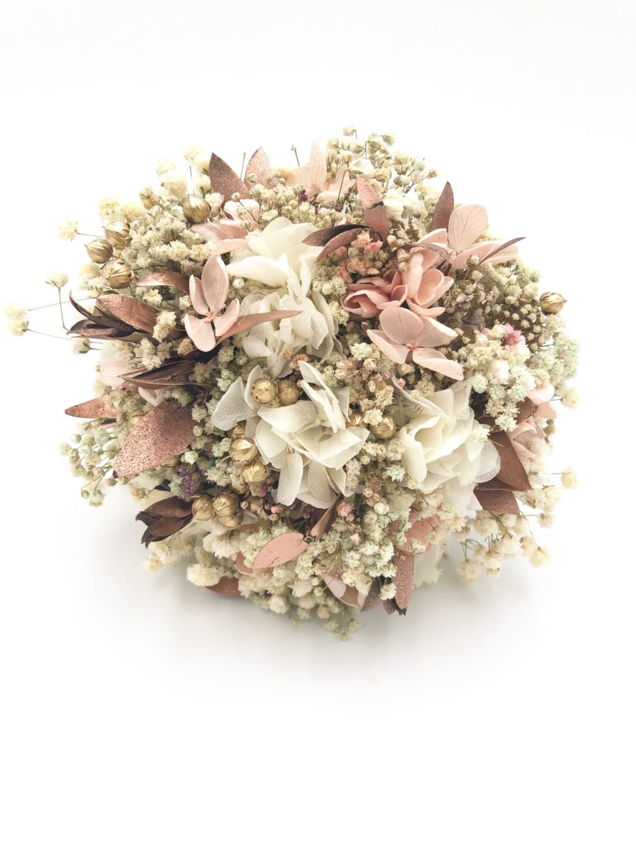 Bouquet de la mariée Phyra en fleurs stabilisées et séchées