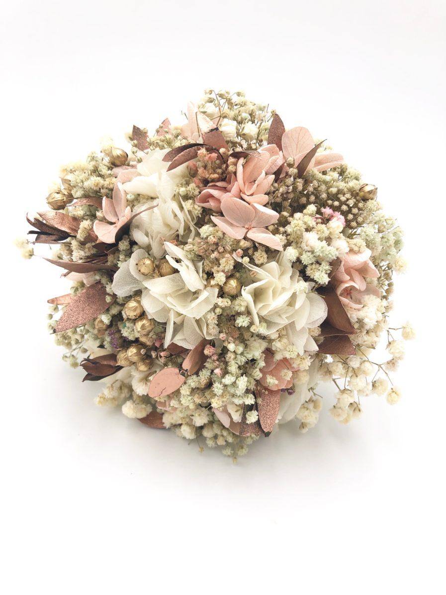 Bouquet de la mariée en fleurs séchées Phyra - Tons rose et cuivre
