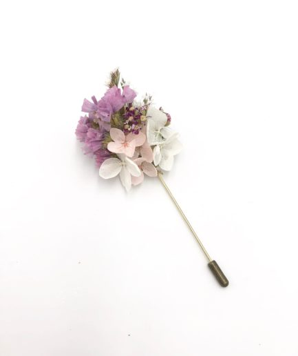Boutonnière de marié en fleurs séchées Lilla - Collection ROmantique