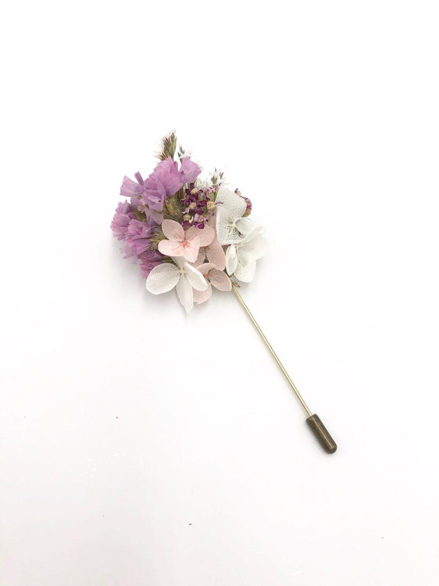 Boutonnière de marié en fleurs séchées Lilla - Collection ROmantique