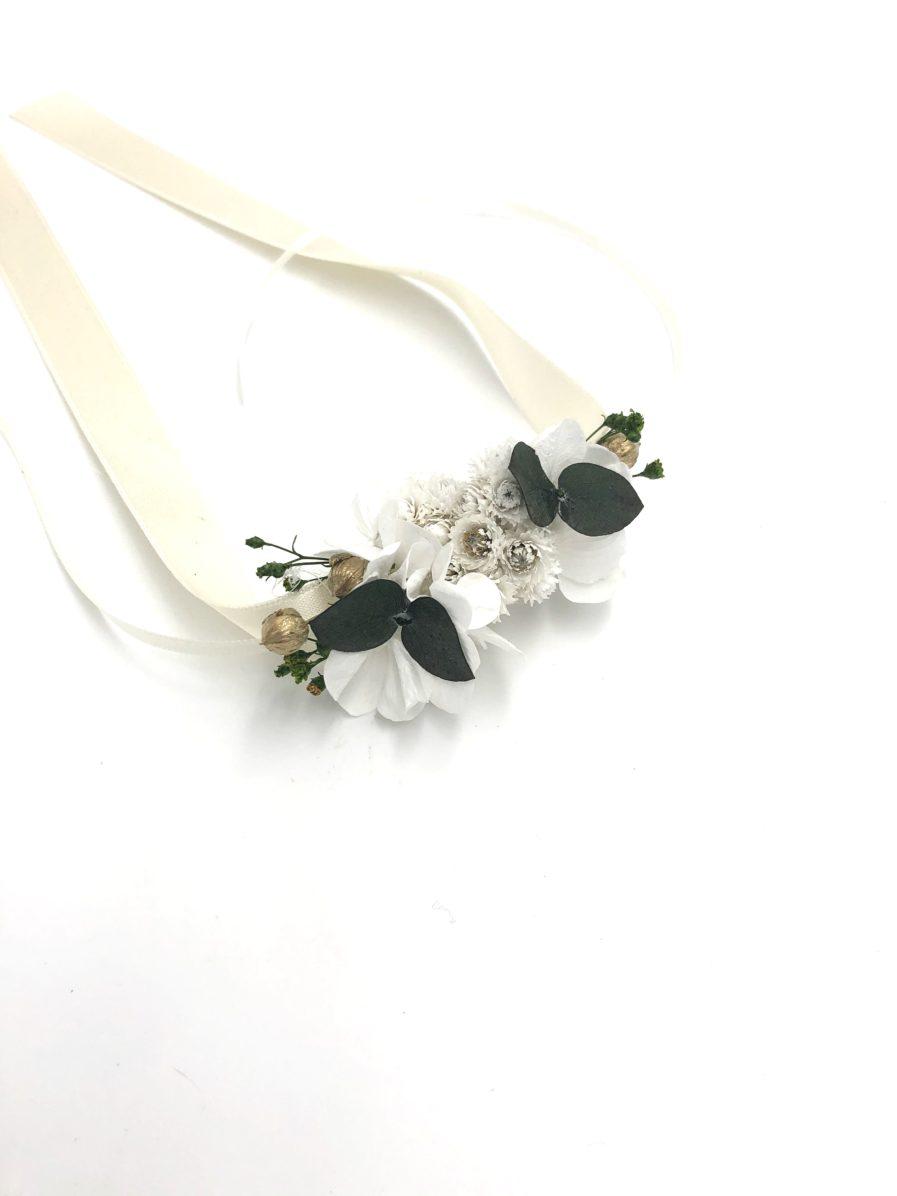 Bracelet de demoiselles d'honneur Minthé en fleurs séchées