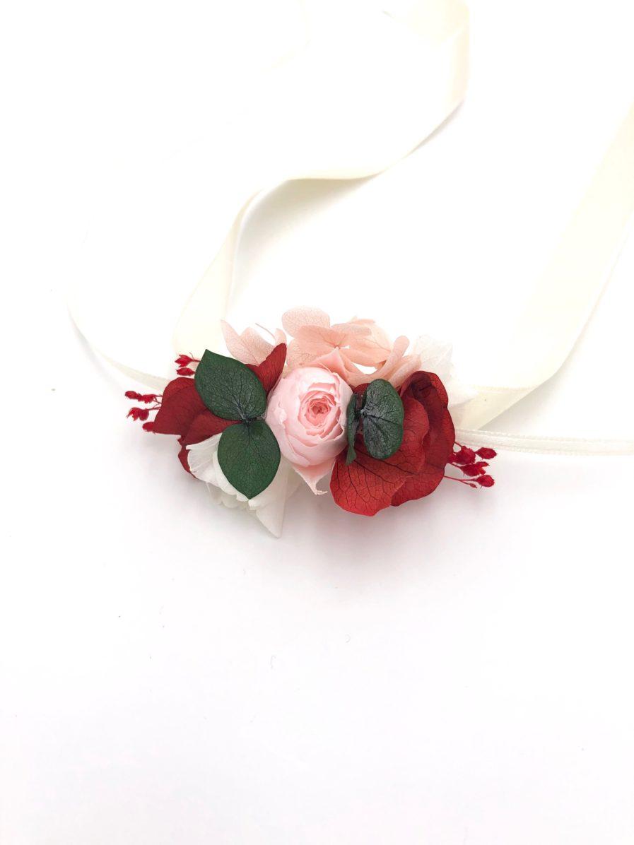 Bracelet de fleurs stabilisées Arabesque pour le cortège de mariage