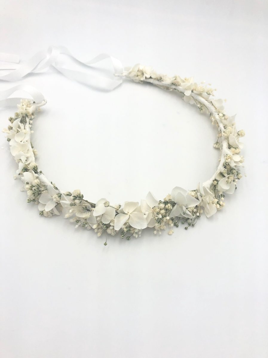 Couronne de fleurs de gypsophile et hortensia Nive - Collection Immaculée