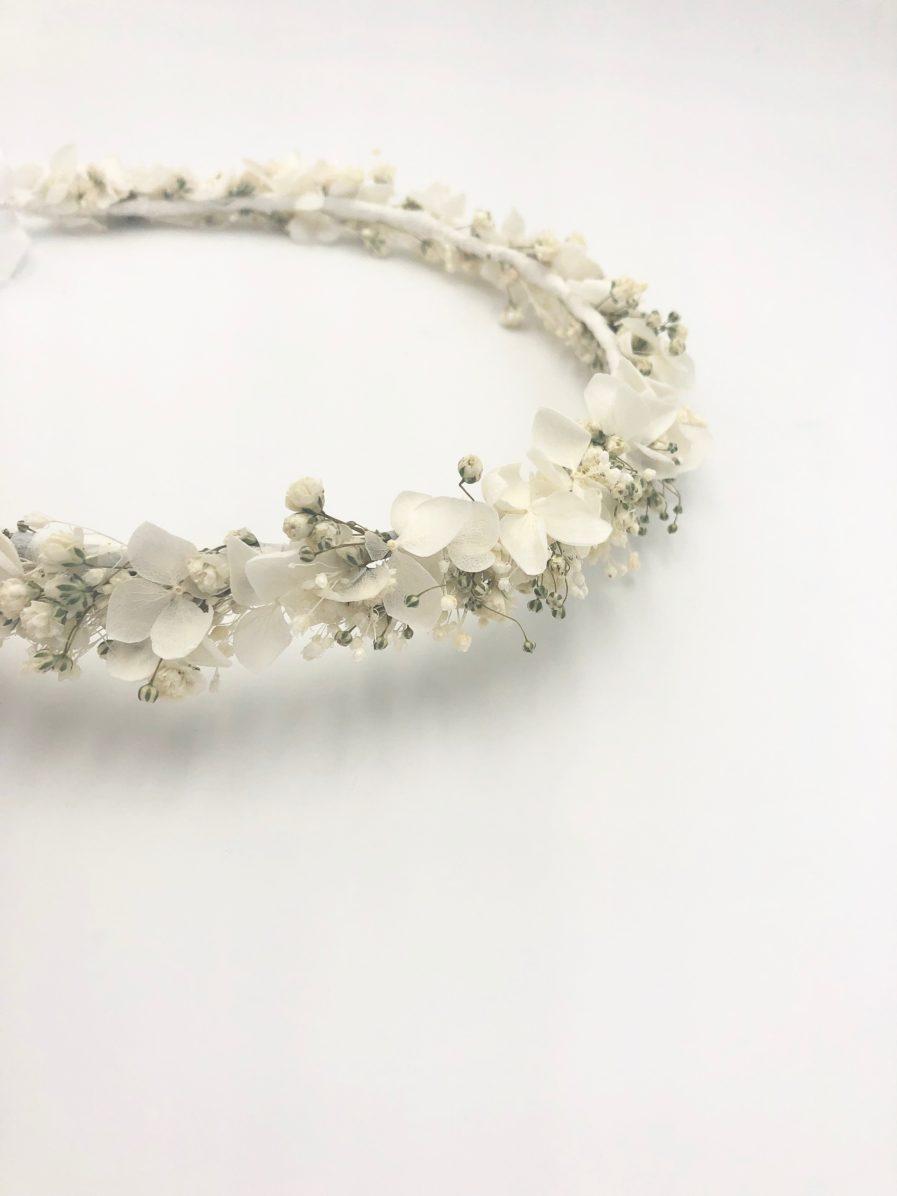 Couronne de gypsophile stabilisé Nive - Fleurs blanches intemporelles