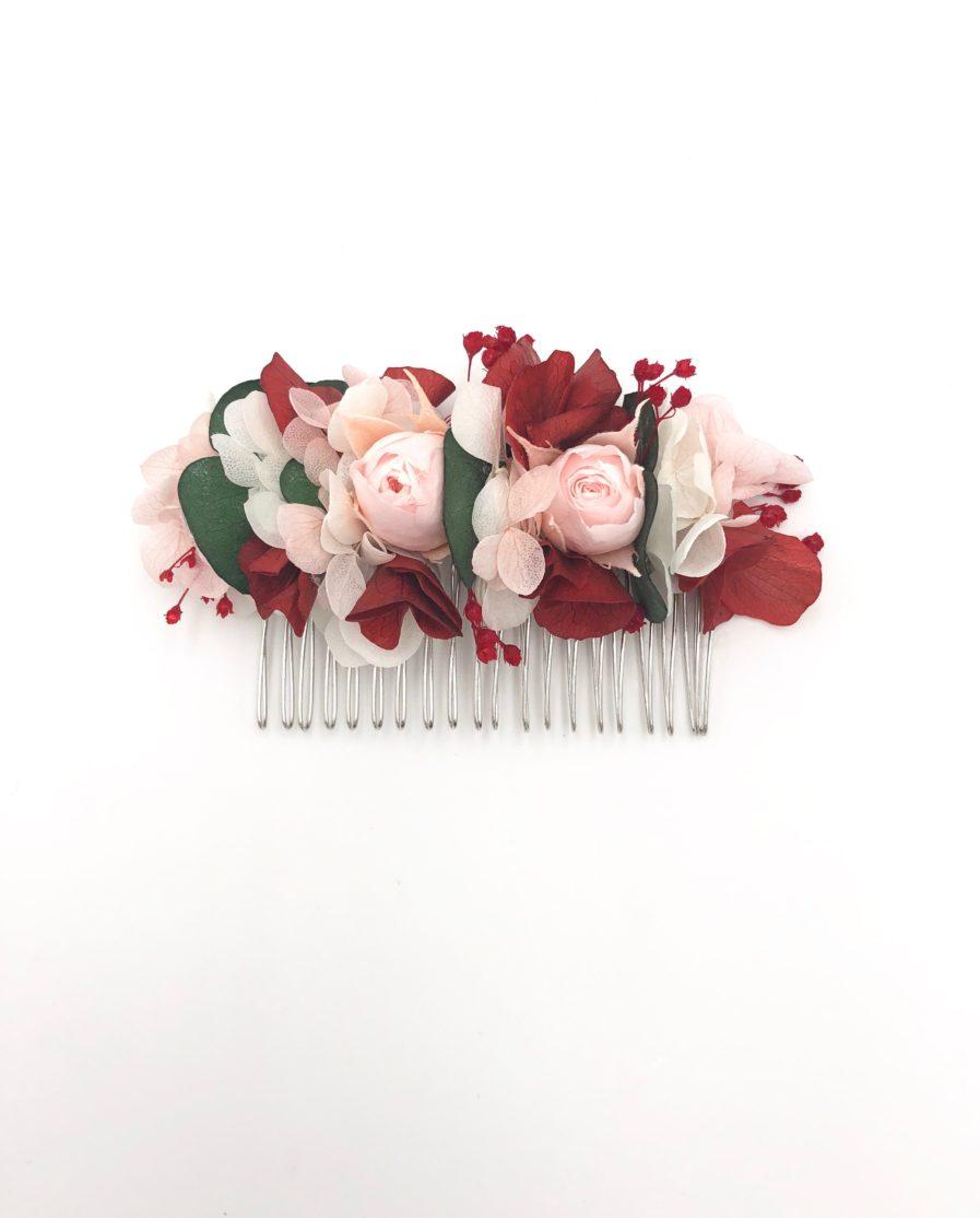 Peigne de fleurs stabilisées Arabesque - Rose, eucalyptus et hortensia