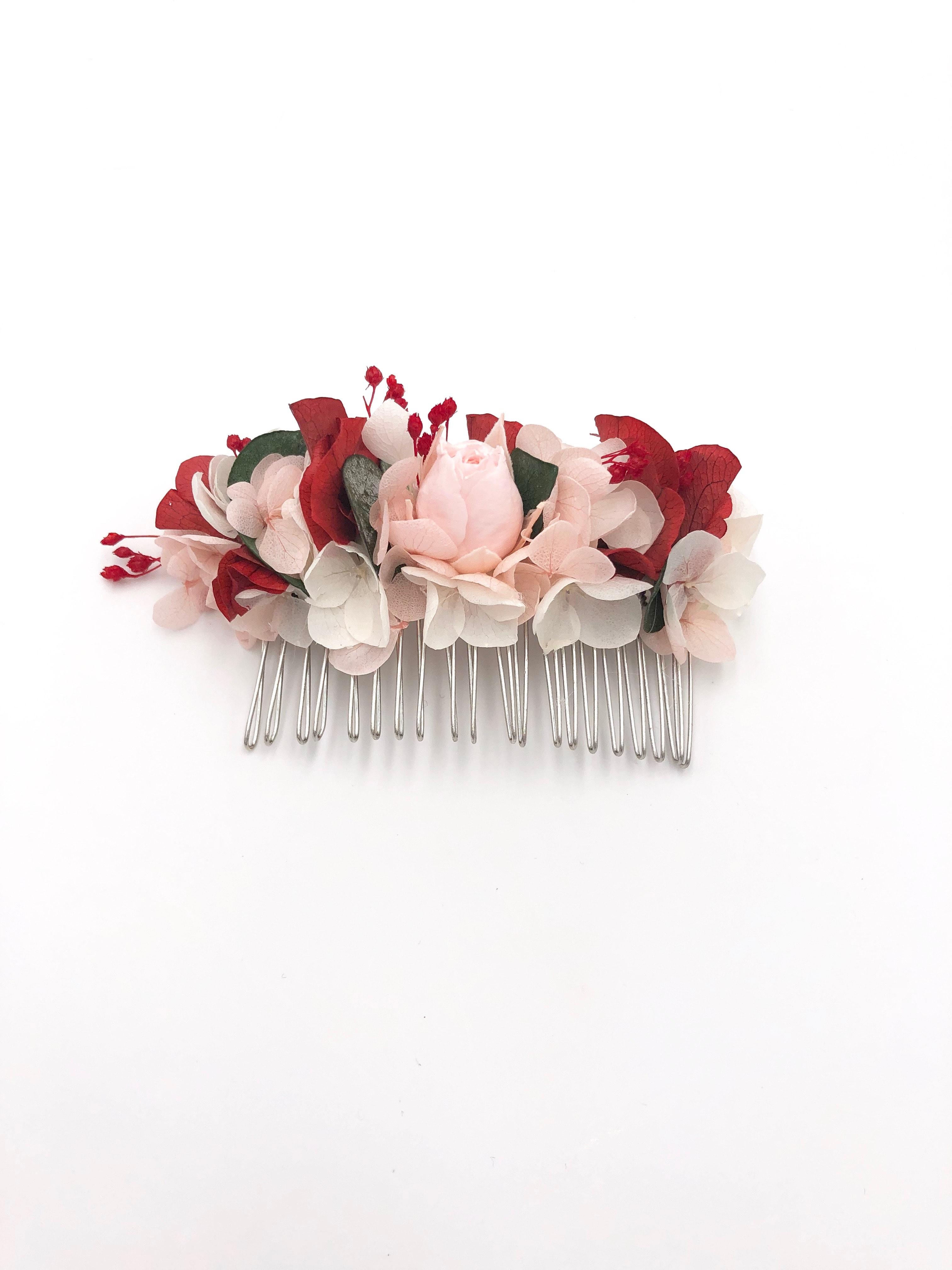 Peigne de fleurs stabilisées Arabesque aux tons rouge et vert