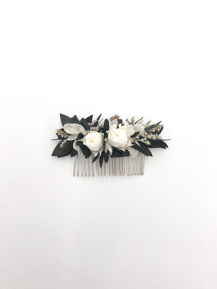 Peigne de fleurs stabilisées Foglia en eucalyptus