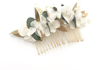 Peigne de fleurs stabilisées champêtre chic Opaline - peignes de fleurs stabilisées