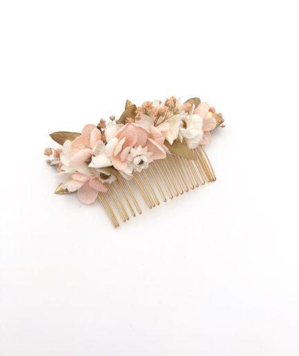 Peigne de mariage champêtre Candi doré en fleurs stabilisées
