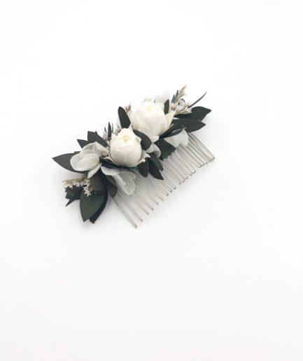 Peigne d'eucalyptus stabilisé Foglia et hortensia blanche